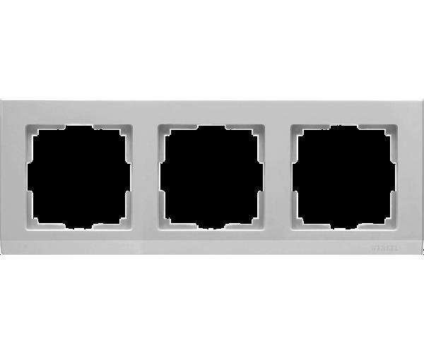 Рамка на 3 поста WL04-Frame-03 Серебряный