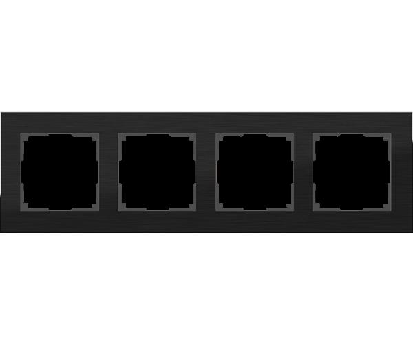 Рамка на 4 поста (черный алюминий) WL11-Frame-04