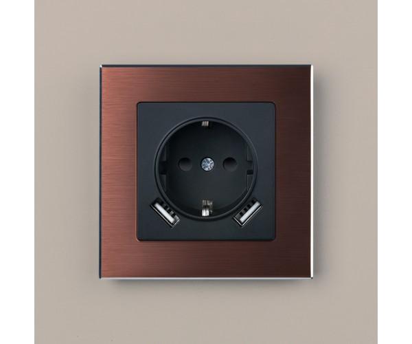 Рамка на 1 пост WL11-Frame-01 Коричневый алюминий
